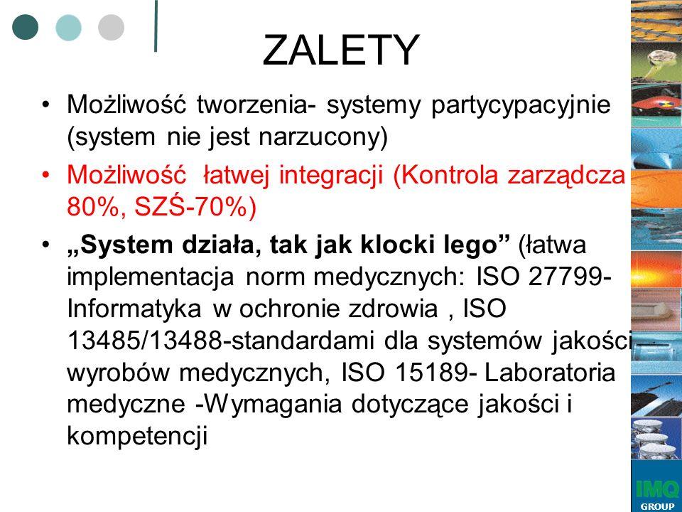 """GROUP ZALETY Możliwość tworzenia- systemy partycypacyjnie (system nie jest narzucony) Możliwość łatwej integracji (Kontrola zarządcza 80%, SZŚ-70%) """"System działa, tak jak klocki lego (łatwa implementacja norm medycznych: ISO 27799- Informatyka w ochronie zdrowia, ISO 13485/13488-standardami dla systemów jakości wyrobów medycznych, ISO 15189- Laboratoria medyczne -Wymagania dotyczące jakości i kompetencji"""
