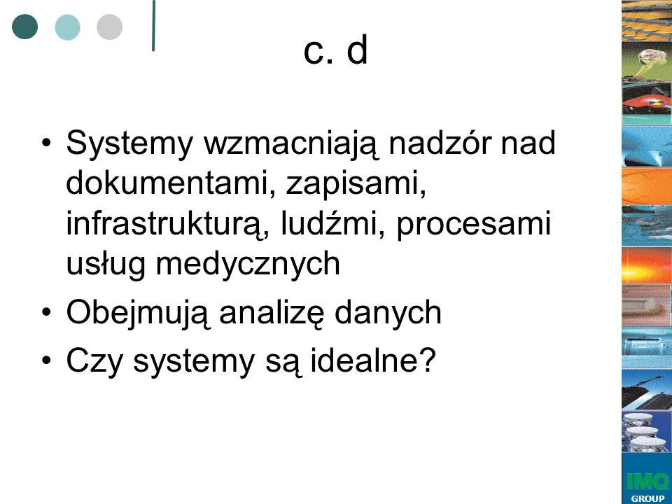 GROUP c. d Systemy wzmacniają nadzór nad dokumentami, zapisami, infrastrukturą, ludźmi, procesami usług medycznych Obejmują analizę danych Czy systemy