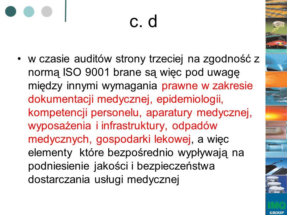 GROUP c. d w czasie auditów strony trzeciej na zgodność z normą ISO 9001 brane są więc pod uwagę między innymi wymagania prawne w zakresie dokumentacj