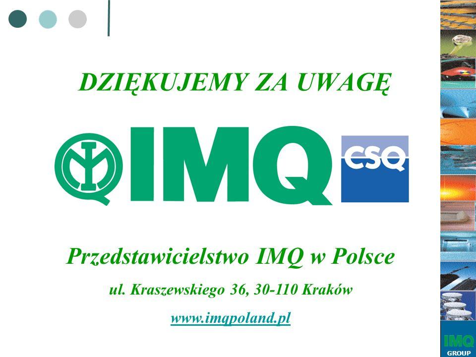 GROUP Przedstawicielstwo IMQ w Polsce ul. Kraszewskiego 36, 30-110 Kraków www.imqpoland.pl DZIĘKUJEMY ZA UWAGĘ