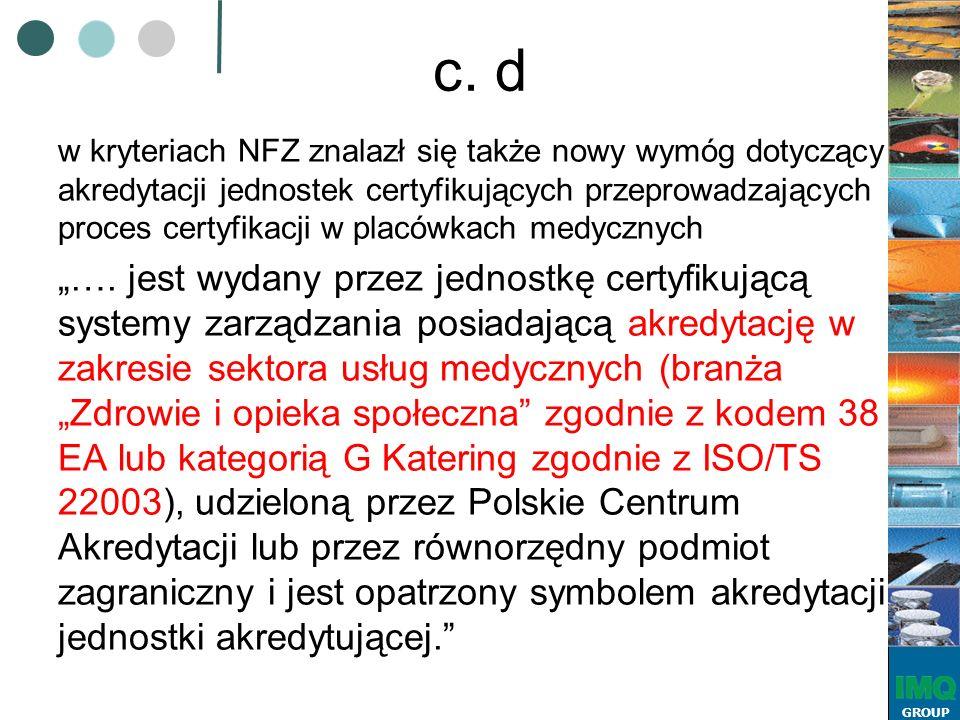 GROUP c. d w kryteriach NFZ znalazł się także nowy wymóg dotyczący akredytacji jednostek certyfikujących przeprowadzających proces certyfikacji w plac