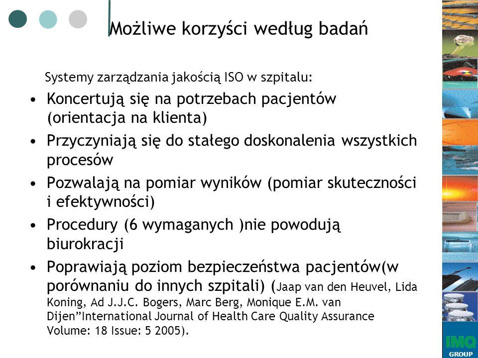 GROUP Możliwe korzyści według badań Systemy zarządzania jakością ISO w szpitalu: Koncertują się na potrzebach pacjentów (orientacja na klienta) Przyczyniają się do stałego doskonalenia wszystkich procesów Pozwalają na pomiar wyników (pomiar skuteczności i efektywności) Procedury (6 wymaganych )nie powodują biurokracji Poprawiają poziom bezpieczeństwa pacjentów(w porównaniu do innych szpitali) ( Jaap van den Heuvel, Lida Koning, Ad J.J.C.
