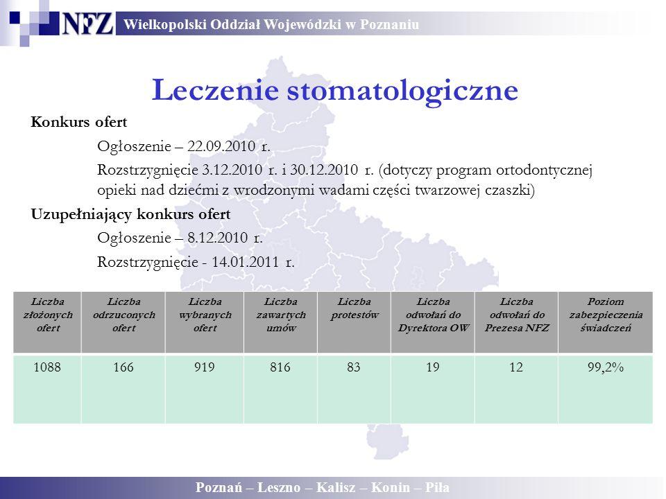 Wielkopolski Oddział Wojewódzki w Poznaniu Poznań – Leszno – Kalisz – Konin – Piła Konkurs ofert Ogłoszenie – 22.09.2010 r. Rozstrzygnięcie 3.12.2010