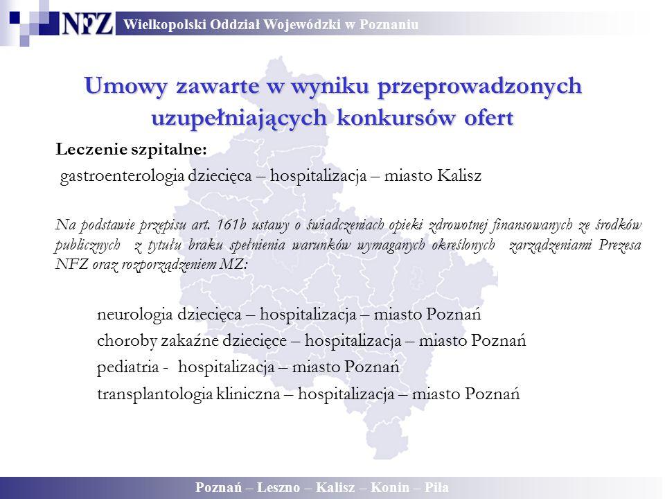Wielkopolski Oddział Wojewódzki w Poznaniu Poznań – Leszno – Kalisz – Konin – Piła Umowy zawarte w wyniku przeprowadzonych uzupełniających konkursów o