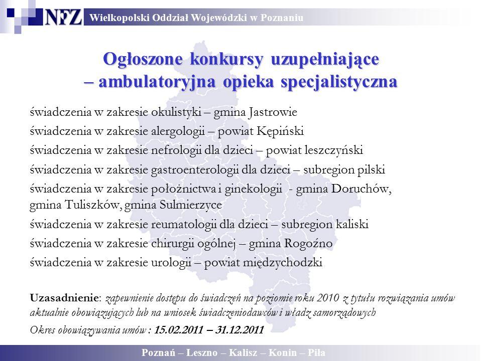 Wielkopolski Oddział Wojewódzki w Poznaniu Poznań – Leszno – Kalisz – Konin – Piła Ogłoszone konkursy uzupełniające – ambulatoryjna opieka specjalisty