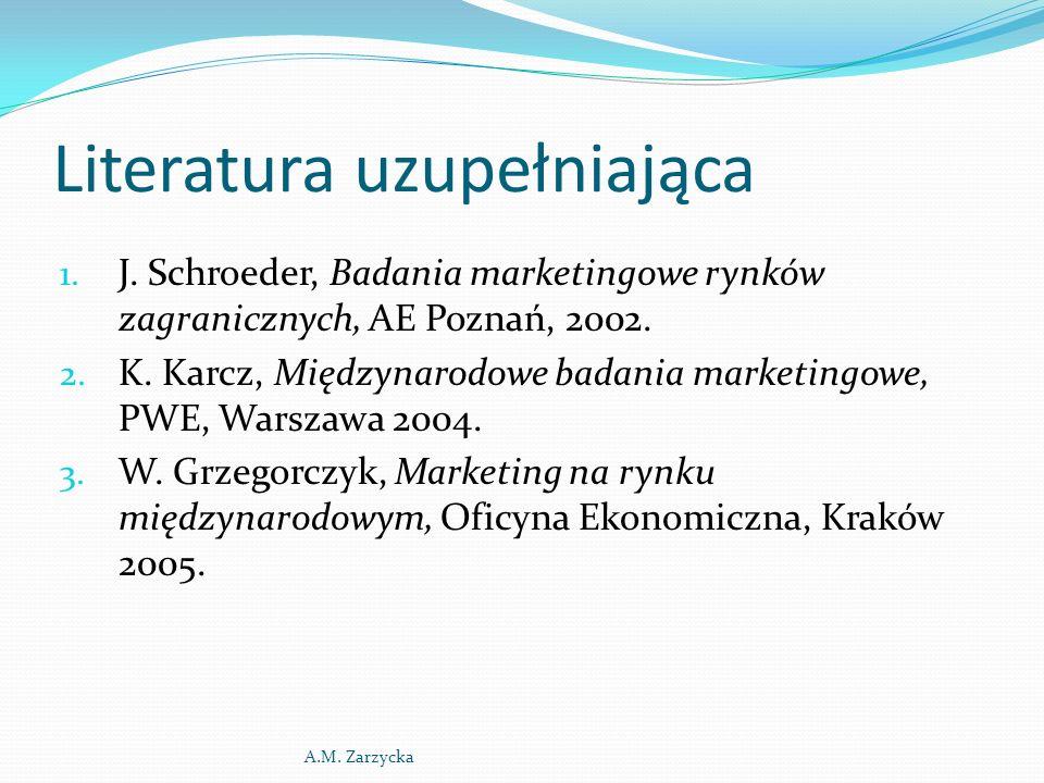 Literatura uzupełniająca 1. J. Schroeder, Badania marketingowe rynków zagranicznych, AE Poznań, 2002. 2. K. Karcz, Międzynarodowe badania marketingowe
