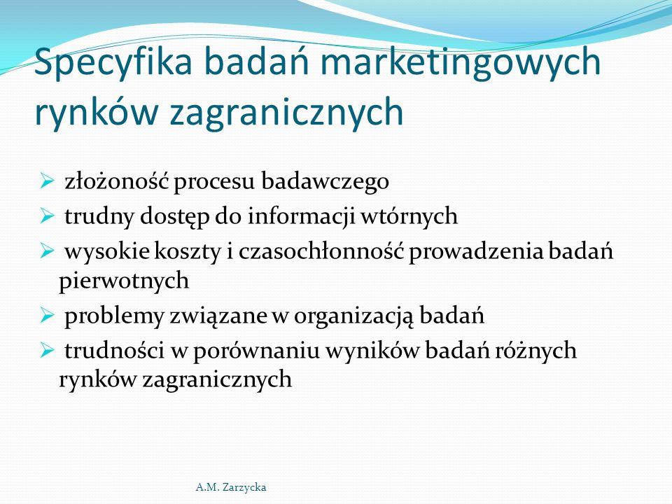 Specyfika badań marketingowych rynków zagranicznych  złożoność procesu badawczego  trudny dostęp do informacji wtórnych  wysokie koszty i czasochło