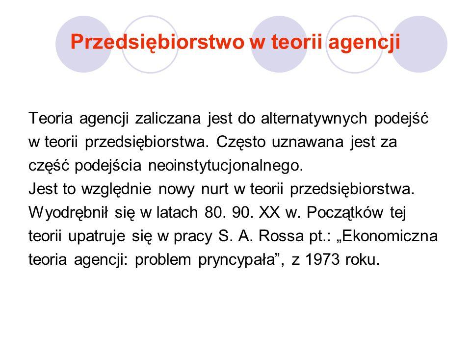 Kluczowe dla teorii agencji było wyjaśnienie relacji między pryncypałem a agentem; analiza umowy między stroną zlecającą działanie, które ma być wykonane w jej interesie (pryncypał) oraz stroną wykonującą kontrakt (agent).