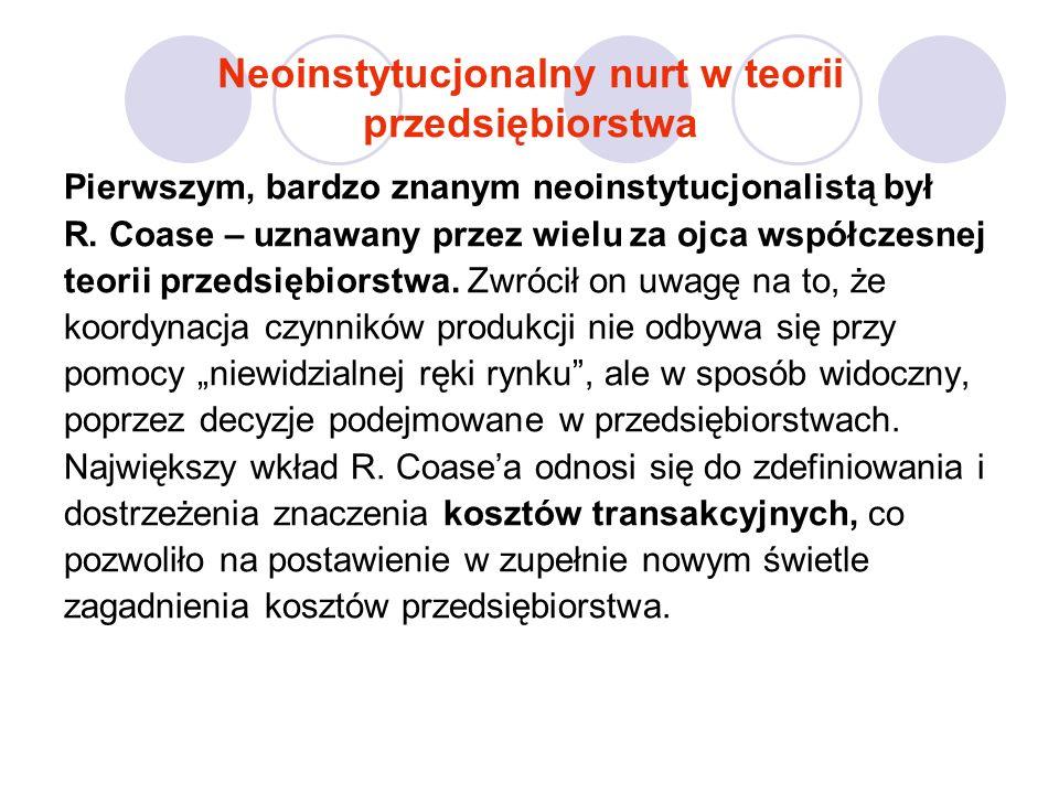 Neoinstytucjonalny nurt w teorii przedsiębiorstwa Pierwszym, bardzo znanym neoinstytucjonalistą był R.