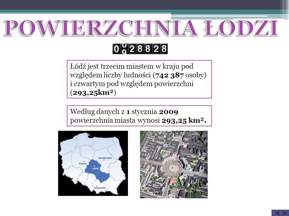 Łódź jest trzecim miastem w kraju pod względem liczby ludności (742 387 osoby) i czwartym pod względem powierzchni (293,25km²) Według danych z 1 stycznia 2009 powierzchnia miasta wynosi 293,25 km².