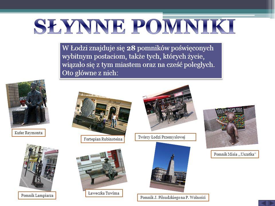 W Łodzi znajduje się 28 pomników poświęconych wybitnym postaciom, także tych, których życie, wiązało się z tym miastem oraz na cześć poległych. Oto gł