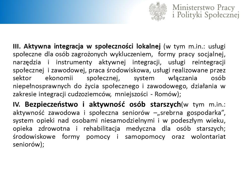 III. Aktywna integracja w społeczności lokalnej (w tym m.in.: usługi społeczne dla osób zagrożonych wykluczeniem, formy pracy socjalnej, narzędzia i i