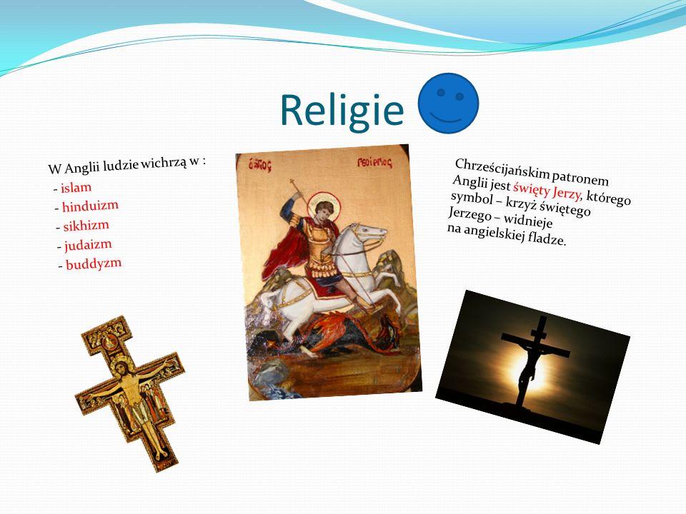 Religie W Anglii ludzie wichrzą w : - islam - hinduizm - sikhizm - judaizm - buddyzm Chrześcijańskim patronem Anglii jest święty Jerzy, którego symbol – krzyż świętego Jerzego – widnieje na angielskiej fladze.