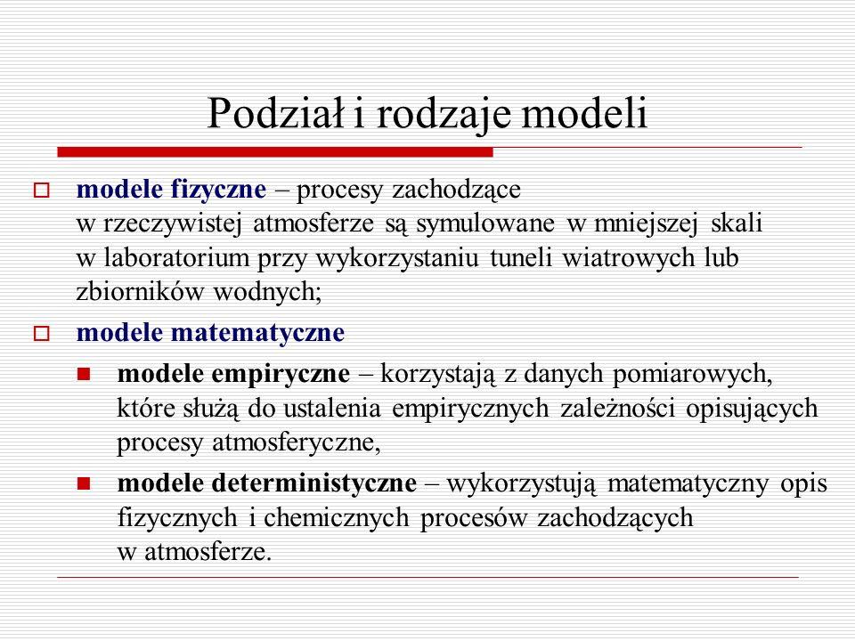 Matematyczne deterministyczne modele rozprzestrzeniania się zanieczyszczeń w atmosferze  Modele Lagrangeowskie modele gaussowskie modele pudełkowe modele cząstek  Modele Eulerowskie modele analityczne modele pudełkowe modele numeryczne (z domknięciem pierwszego rzędu, drugiego rzędu, uwzględniającym turbulencję podsiatkową)  Modele Gaussowskie modele smugowe starej generacji korzystające z dyskretnych stanów równowagi atmosfery modele smugi segmentowej i/lub obłoku przystosowane dla opisu rozprzestrzeniania się zanieczyszczeń w warunkach niestacjonarnych i niejednorodnych modele nowej generacji z modułem gaussowskim posługujące się parametrami warstwy granicznej
