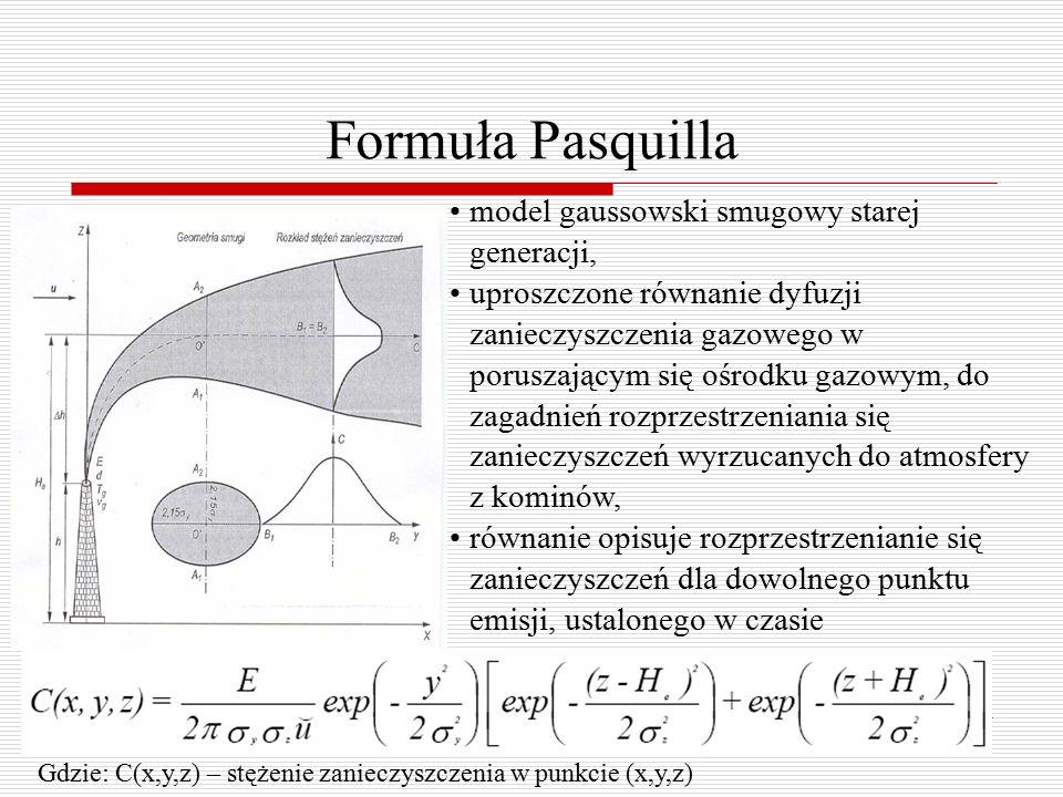 Formuła Pasquilla model gaussowski smugowy starej generacji, uproszczone równanie dyfuzji zanieczyszczenia gazowego w poruszającym się ośrodku gazowym