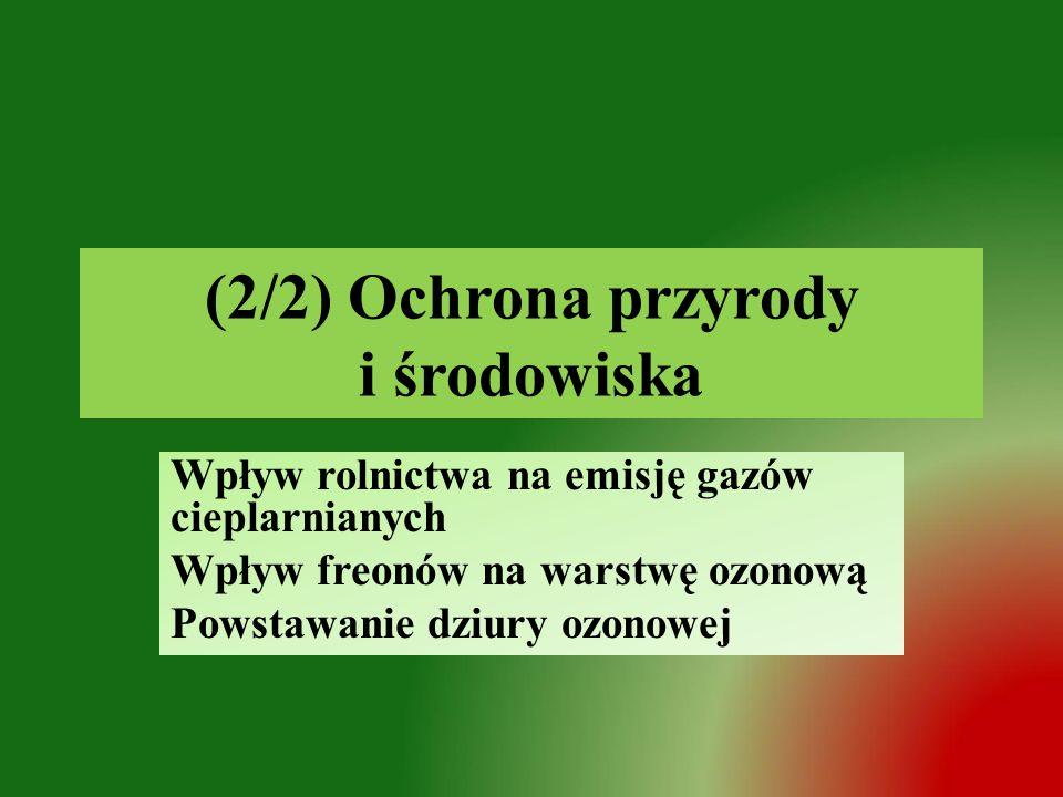 (2/2) Ochrona przyrody i środowiska Wpływ rolnictwa na emisję gazów cieplarnianych Wpływ freonów na warstwę ozonową Powstawanie dziury ozonowej