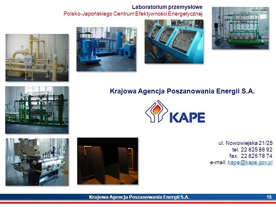 Krajowa Agencja Poszanowania Energii S.A. 15 ul. Nowowiejska 21/25 tel.