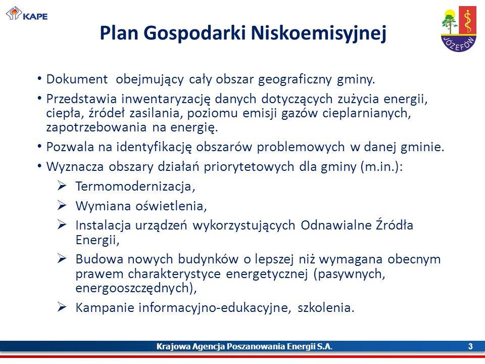 Krajowa Agencja Poszanowania Energii S.A. 3 Plan Gospodarki Niskoemisyjnej Dokument obejmujący cały obszar geograficzny gminy. Przedstawia inwentaryza