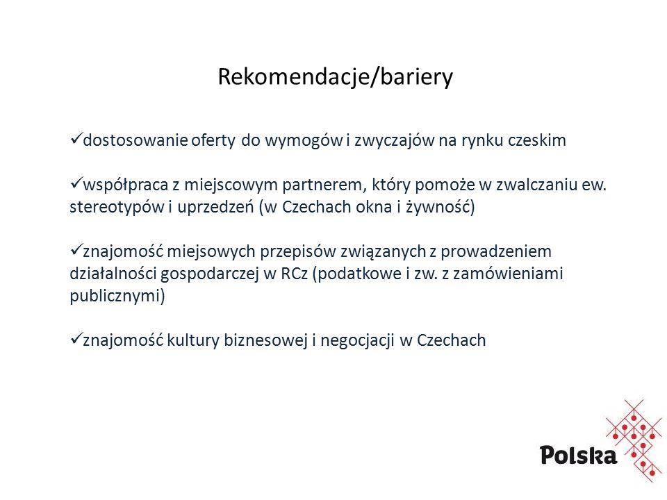 Rekomendacje/bariery dostosowanie oferty do wymogów i zwyczajów na rynku czeskim współpraca z miejscowym partnerem, który pomoże w zwalczaniu ew.