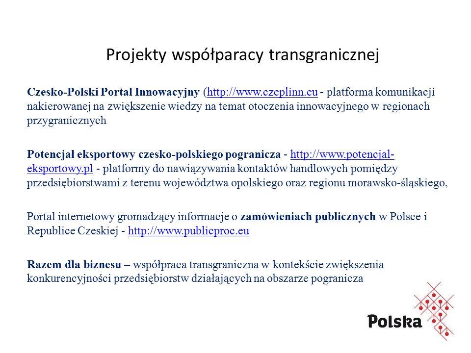 Projekty współparacy transgranicznej Czesko-Polski Portal Innowacyjny (http://www.czeplinn.eu - platforma komunikacji nakierowanej na zwiększenie wiedzy na temat otoczenia innowacyjnego w regionach przygranicznychhttp://www.czeplinn.eu Potencjał eksportowy czesko-polskiego pogranicza - http://www.potencjal- eksportowy.pl - platformy do nawiązywania kontaktów handlowych pomiędzy przedsiębiorstwami z terenu województwa opolskiego oraz regionu morawsko-śląskiego,http://www.potencjal- eksportowy.pl Portal internetowy gromadzący informacje o zamówieniach publicznych w Polsce i Republice Czeskiej - http://www.publicproc.euhttp://www.publicproc.eu Razem dla biznesu – współpraca transgraniczna w kontekście zwiększenia konkurencyjności przedsiębiorstw działających na obszarze pogranicza