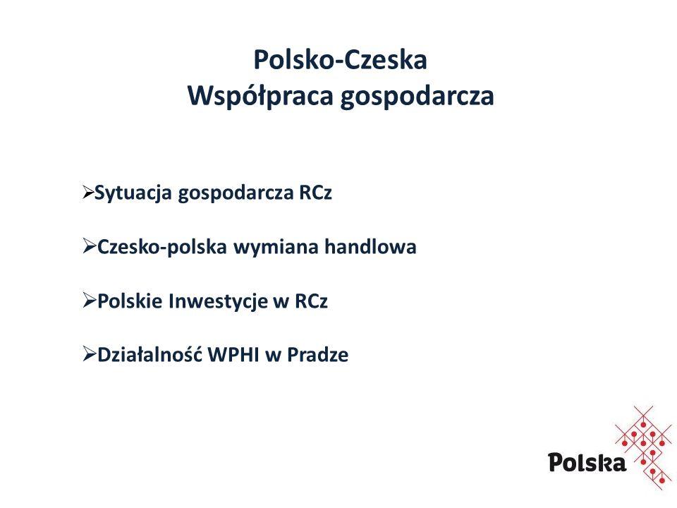 Polsko-Czeska Współpraca gospodarcza  Sytuacja gospodarcza RCz  Czesko-polska wymiana handlowa  Polskie Inwestycje w RCz  Działalność WPHI w Pradze