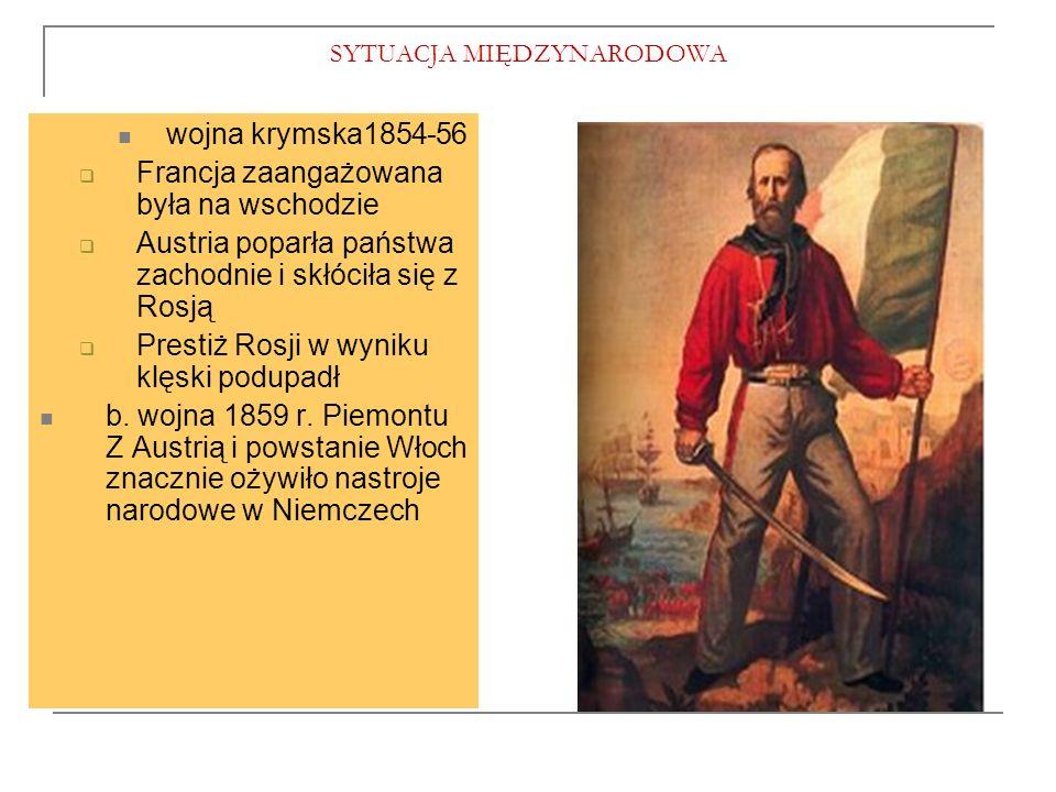 SYTUACJA MIĘDZYNARODOWA wojna krymska1854-56  Francja zaangażowana była na wschodzie  Austria poparła państwa zachodnie i skłóciła się z Rosją  Prestiż Rosji w wyniku klęski podupadł b.