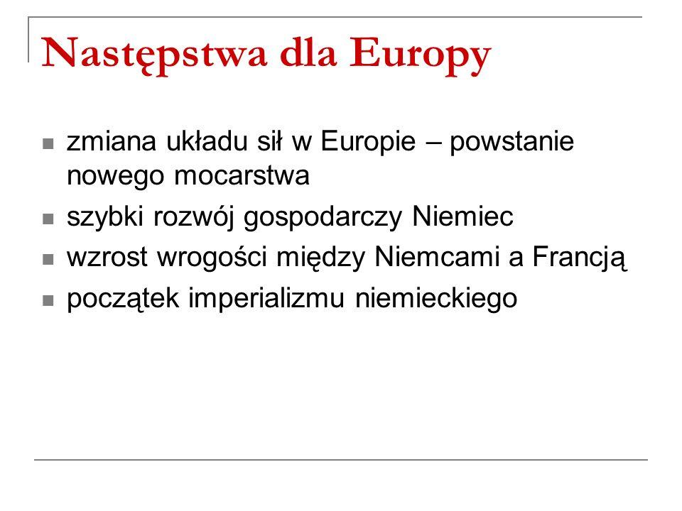 Następstwa dla Europy zmiana układu sił w Europie – powstanie nowego mocarstwa szybki rozwój gospodarczy Niemiec wzrost wrogości między Niemcami a Francją początek imperializmu niemieckiego