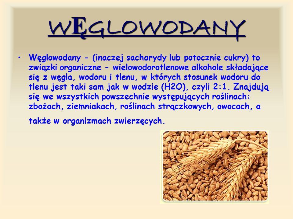 WĘGLOWODANY Węglowodany - (inaczej sacharydy lub potocznie cukry) to związki organiczne - wielowodorotlenowe alkohole składające się z węgla, wodoru i tlenu, w których stosunek wodoru do tlenu jest taki sam jak w wodzie (H2O), czyli 2:1.