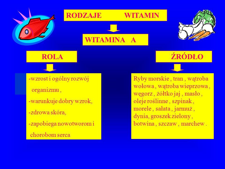 RODZAJE WITAMIN WITAMINA A ROLA ŹRÓDŁO -wzrost i ogólny rozwój organizmu, -warunkuje dobry wzrok, -zdrowa skóra, -zapobiega nowotworom i chorobom serca Ryby morskie, tran, wątroba wołowa, wątroba wieprzowa, węgorz, żółtko jaj, masło, oleje roślinne, szpinak, morele, sałata, jarmuż, dynia, groszek zielony, botwina, szczaw, marchew.