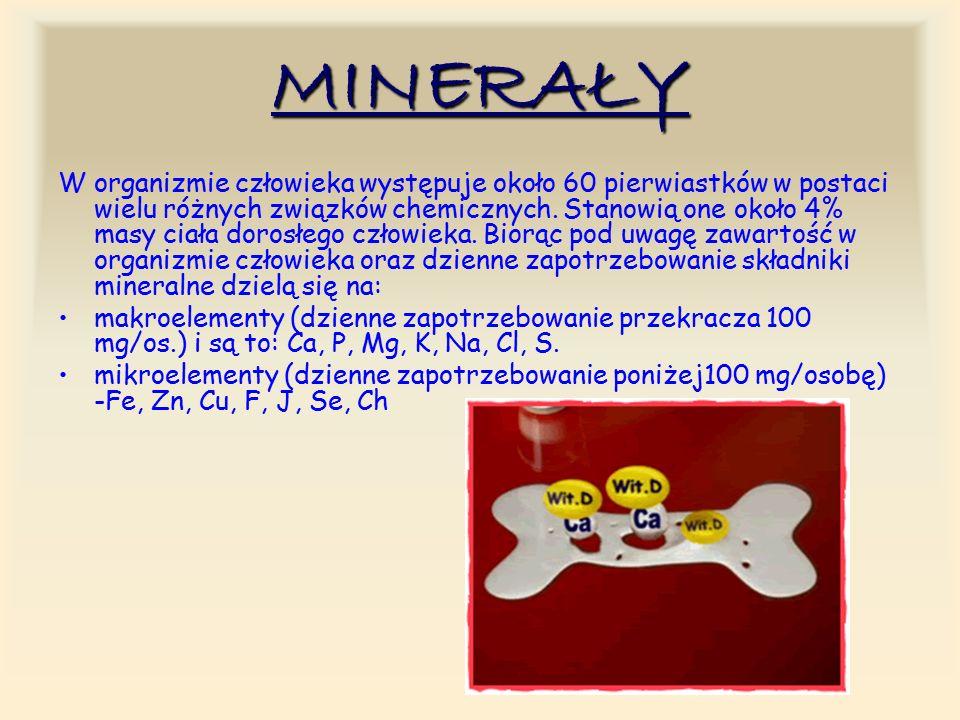 MINERAŁY W organizmie człowieka występuje około 60 pierwiastków w postaci wielu różnych związków chemicznych.