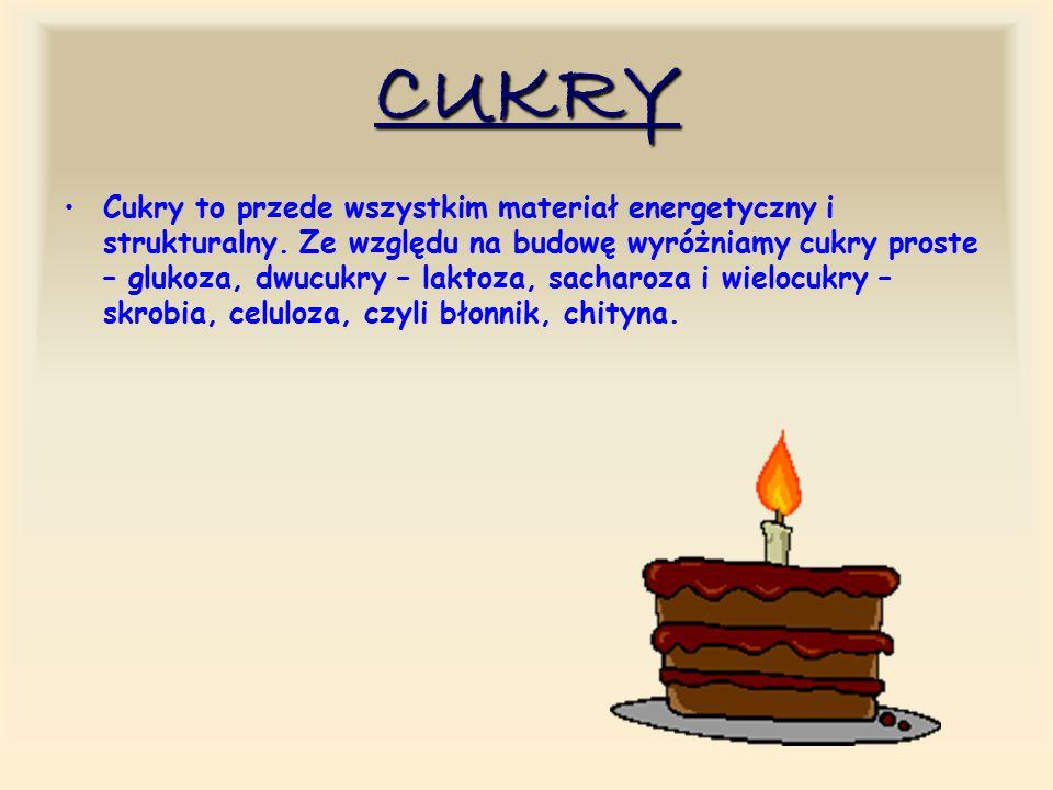 CUKRY Cukry to przede wszystkim materiał energetyczny i strukturalny.