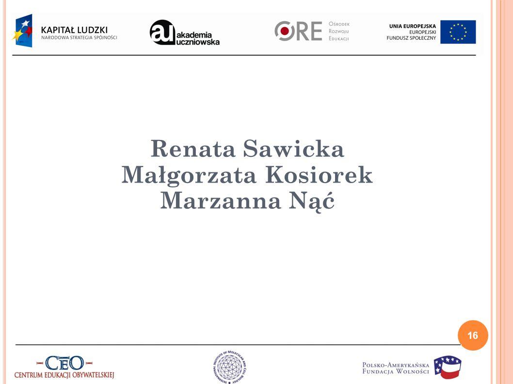 Renata Sawicka Małgorzata Kosiorek Marzanna Nąć 16