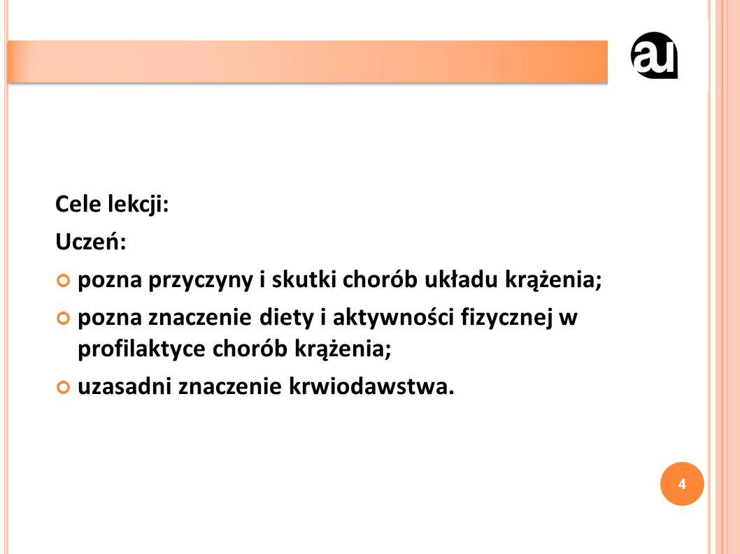 Cele lekcji: Uczeń: pozna przyczyny i skutki chorób układu krążenia; pozna znaczenie diety i aktywności fizycznej w profilaktyce chorób krążenia; uzas
