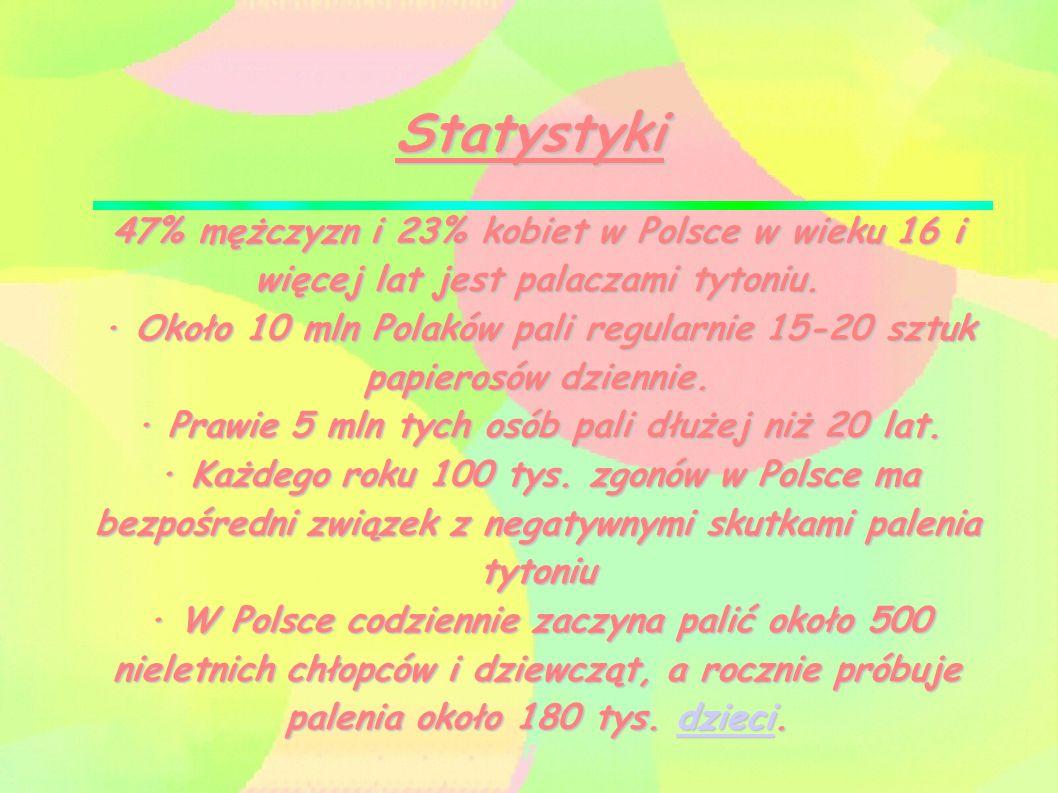 Statystyki 47% mężczyzn i 23% kobiet w Polsce w wieku 16 i więcej lat jest palaczami tytoniu. · Około 10 mln Polaków pali regularnie 15-20 sztuk papie