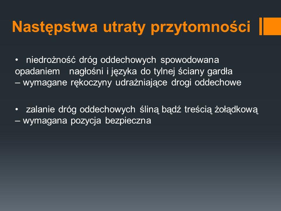 Rozpoznanie źrenice - reakcja na światło – obecna/nieobecna (śmierć kliniczna, zatrucie) - szerokość źrenic – wąskie (narkotyki), szerokie (śmierć kliniczna) nos - krwotok z nosa - wyciek płynu mózgowo-rdzeniowego (złamanie podstawy czaszki) jama ustna - zapach alkoholu - zapach acetonu (śpiączka cukrzycowa) - ciała obce ucho – krew, płyn mózgowo-rdzeniowy kończyny – napięcie mięśniowe klatka piersiowa - rany – głębokość, naruszenie opłucnej, odma - skóra – siniaki wskazują na miejsca urazów miednica – ocena stabilności miednicy