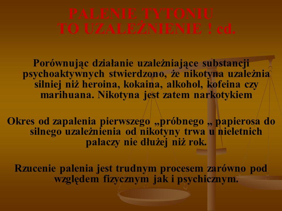 PALENIE TYTONIU TO UZALEŻNIENIE . cd.