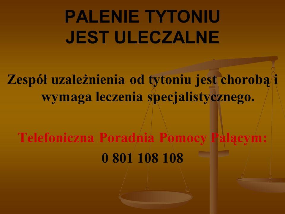 PALENIE TYTONIU JEST ULECZALNE Zespół uzależnienia od tytoniu jest chorobą i wymaga leczenia specjalistycznego.