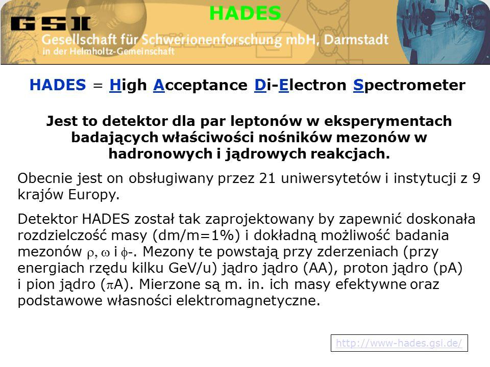 HADES = High Acceptance Di-Electron Spectrometer HADES Jest to detektor dla par leptonów w eksperymentach badających właściwości nośników mezonów w hadronowych i jądrowych reakcjach.
