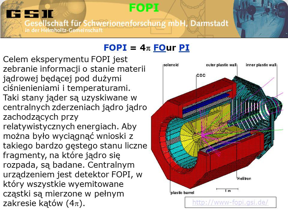 FOPI = 4 FOur PI FOPI Celem eksperymentu FOPI jest zebranie informacji o stanie materii jądrowej będącej pod dużymi ciśnienieniami i temperaturami.