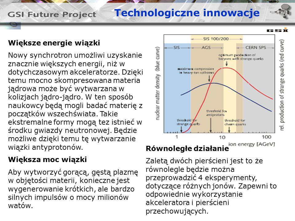Większe energie wiązki Nowy synchrotron umożliwi uzyskanie znacznie większych energii, niż w dotychczasowym akceleratorze.