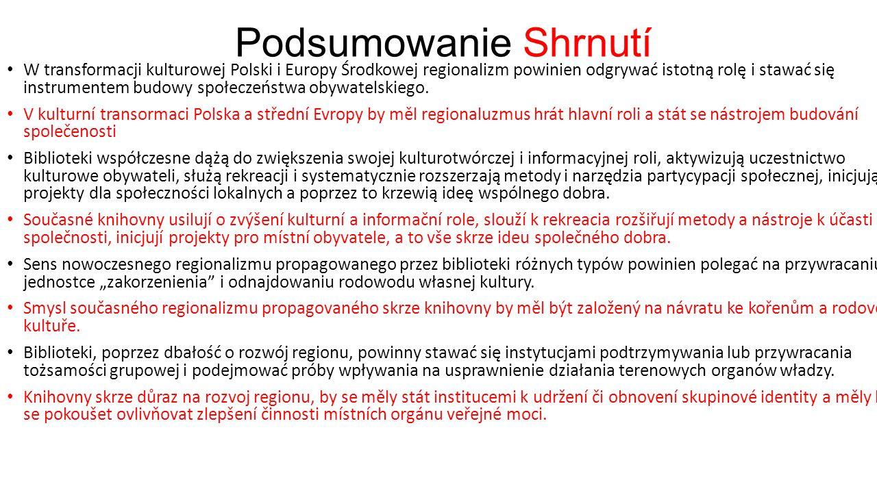 Podsumowanie Shrnutí W transformacji kulturowej Polski i Europy Środkowej regionalizm powinien odgrywać istotną rolę i stawać się instrumentem budowy społeczeństwa obywatelskiego.