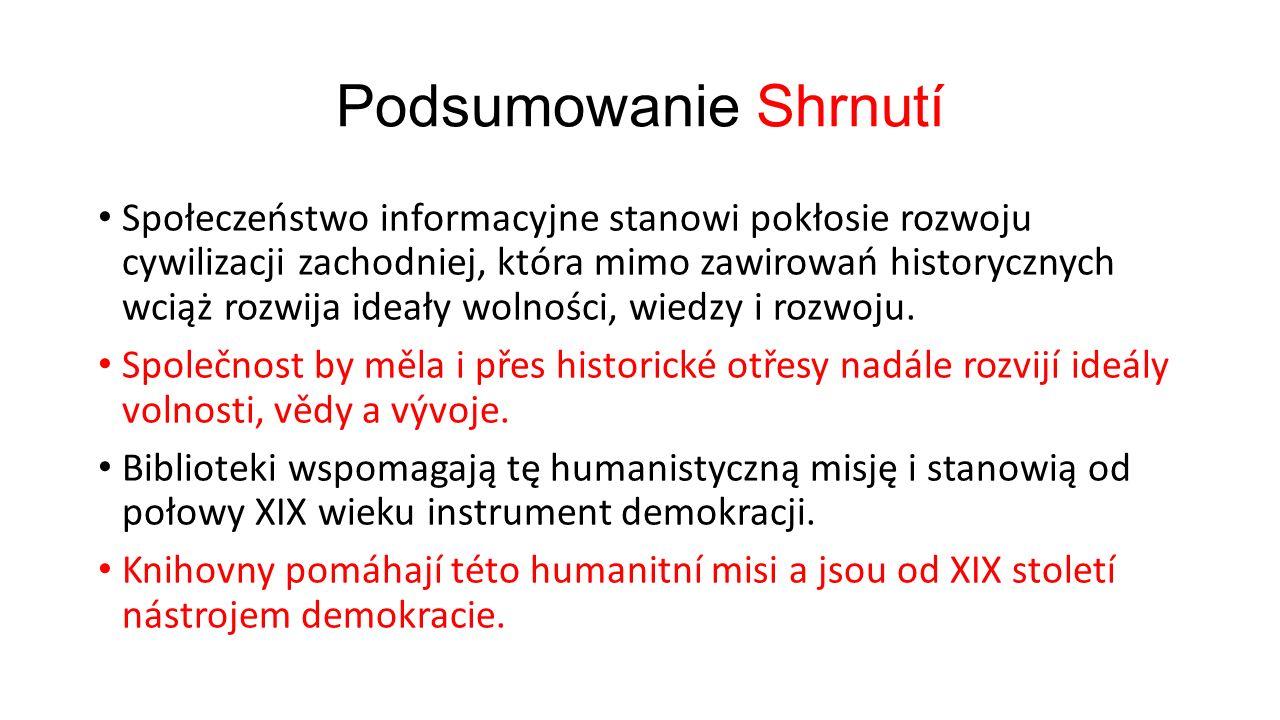 Podsumowanie Shrnutí Społeczeństwo informacyjne stanowi pokłosie rozwoju cywilizacji zachodniej, która mimo zawirowań historycznych wciąż rozwija ideały wolności, wiedzy i rozwoju.