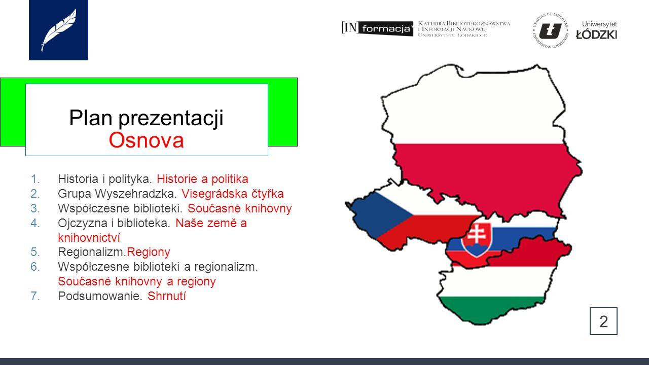 Plan prezentacji Osnova 1.Historia i polityka. Historie a politika 2.Grupa Wyszehradzka.