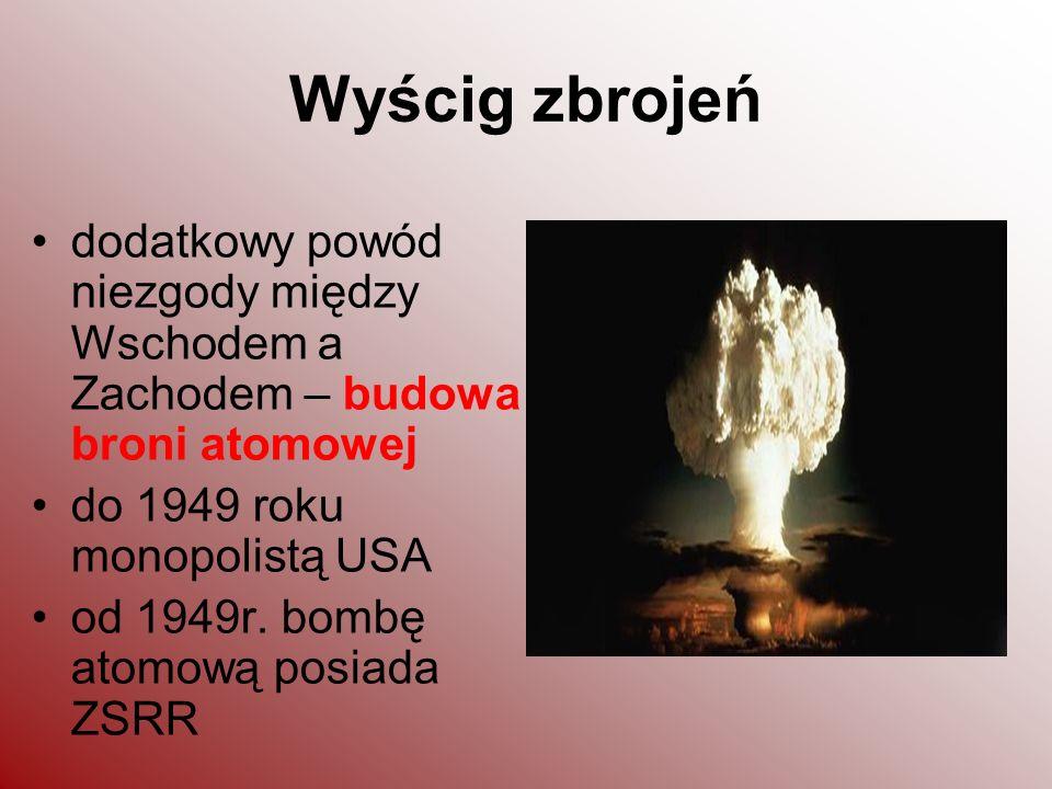 Wyścig zbrojeń dodatkowy powód niezgody między Wschodem a Zachodem – budowa broni atomowej do 1949 roku monopolistą USA od 1949r. bombę atomową posiad