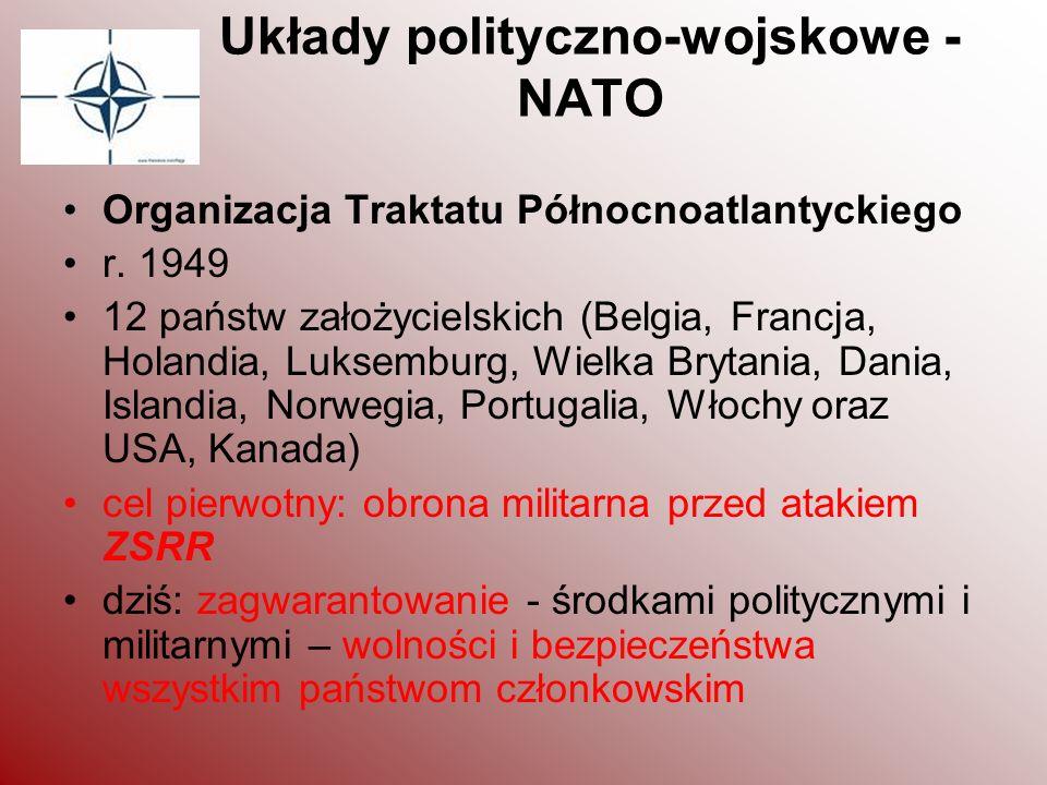 Układy polityczno-wojskowe - NATO Organizacja Traktatu Północnoatlantyckiego r. 1949 12 państw założycielskich (Belgia, Francja, Holandia, Luksemburg,