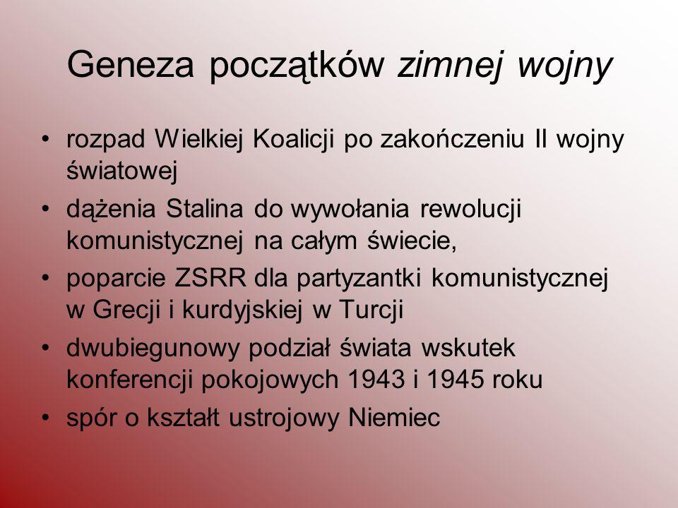 Geneza początków zimnej wojny rozpad Wielkiej Koalicji po zakończeniu II wojny światowej dążenia Stalina do wywołania rewolucji komunistycznej na cały