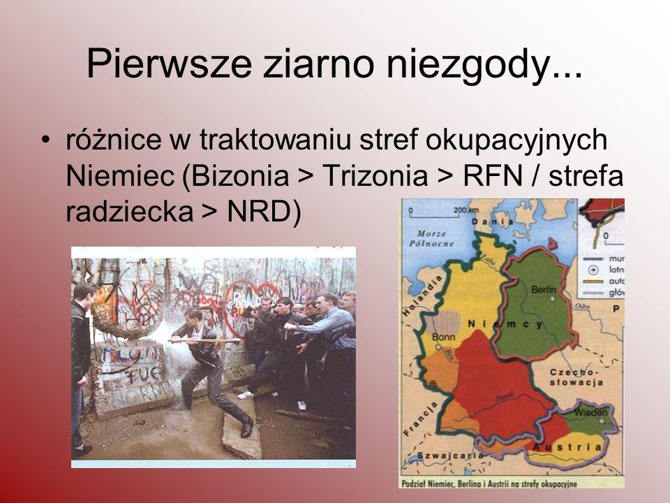 Pierwsze ziarno niezgody... różnice w traktowaniu stref okupacyjnych Niemiec (Bizonia > Trizonia > RFN / strefa radziecka > NRD)