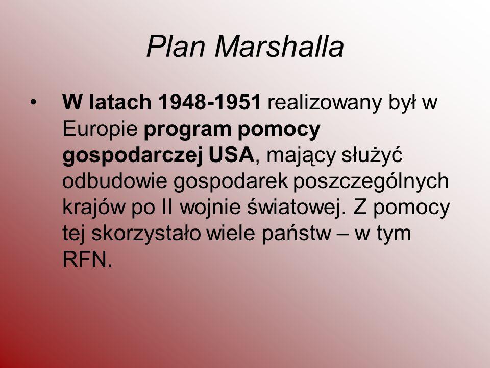 Plan Marshalla W latach 1948-1951 realizowany był w Europie program pomocy gospodarczej USA, mający służyć odbudowie gospodarek poszczególnych krajów