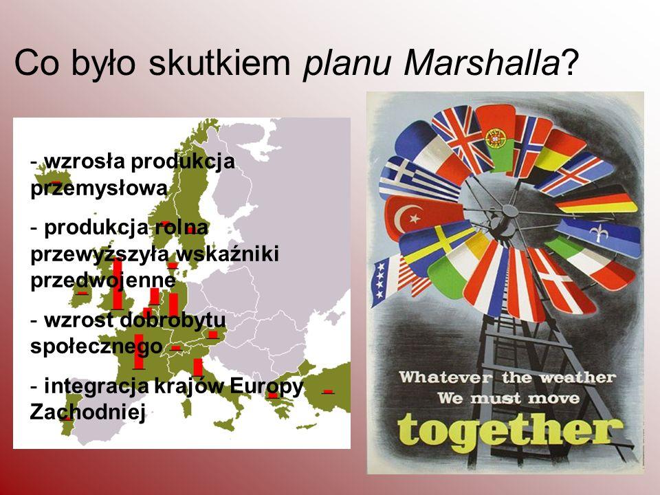 Co było skutkiem planu Marshalla? - wzrosła produkcja przemysłowa - produkcja rolna przewyższyła wskaźniki przedwojenne - wzrost dobrobytu społecznego