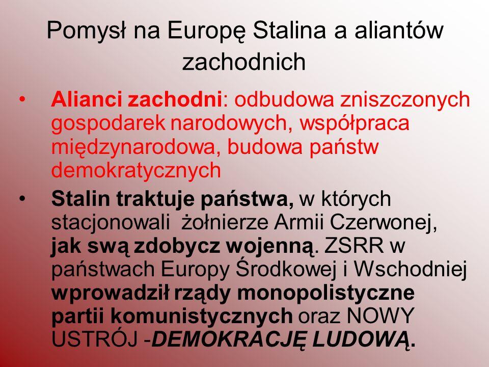 Pomysł na Europę Stalina a aliantów zachodnich Alianci zachodni: odbudowa zniszczonych gospodarek narodowych, współpraca międzynarodowa, budowa państw